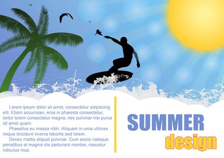 Summer holiday background design with surfer and sun , vector illustration Vector