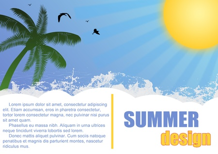 Abstract summer design text frame with palm tree, water and sun, vector illustration Stock Vector - 14287962