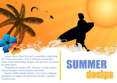 Summer holiday background design with surfer and hibiscus flowers on sunset , vector illustration Stock Vector - 14287959