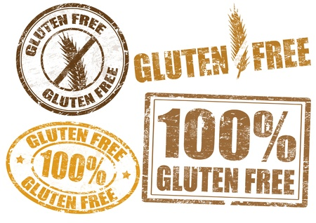 free icon: Set of grunge rubber stamps  with  the text gluten free written inside, vector illustration