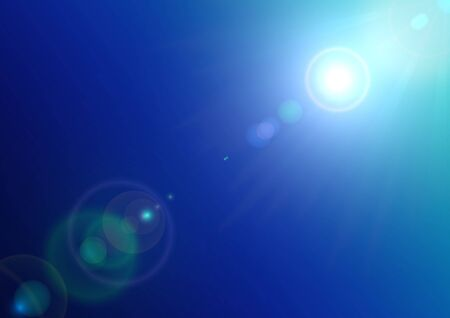 Background texture with sun and lens flare on blue sky Vector
