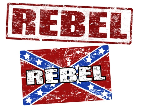 civil war: Grunge rubber stamps with confederate flag and rebel stamp, vector illustration