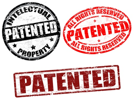 patent: Set of grunge rubber stamps with word patented written inside