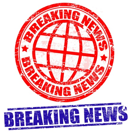 Breaking news grunge stamps on white Vector