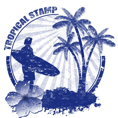 surfer silhouette: Tropical grunge rubber stamp with palms and surfer
