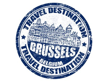 Grunge rubber stamp with the text travel destinations Brussels inside Vector