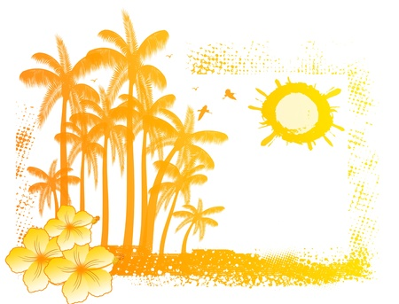 Tropical background with and palm trees on grunge sunset Vector