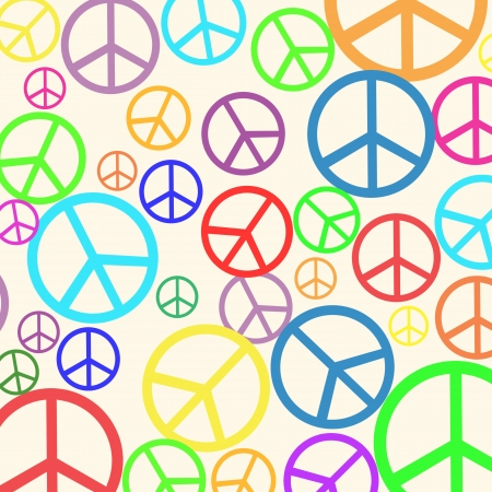Background pattern with retro peace symbol in different colors Vector