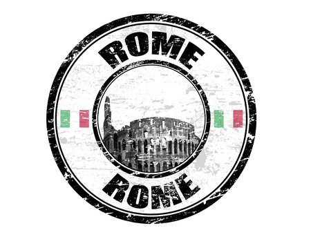 Grunge rubber stamp with Colosseum and the word Rome inside, vector illustration Vector