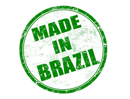 Made in Brazil green rubber stamp Stock Vector - 14350908