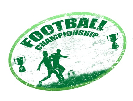 Green grunge rubber stamp with football players and the text football championship written inside the stamp Vector