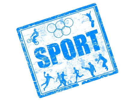 Abstract grunge rubber stamp with many sports silhouette and world sport written inside the stamp Vector
