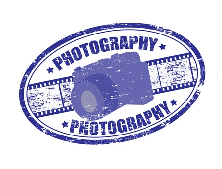 shootting: Blue grunge rubber stamp with filmstrip, camera and the word photography written inside the stamp Illustration