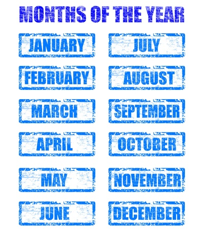 months: months of the year rubber stamp