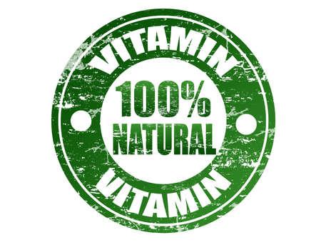 Vitamin 100  natural label in grunge rubber stamp effect Vector