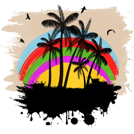 Tropical grunge background with palms and place for your text, vector illustration Vector