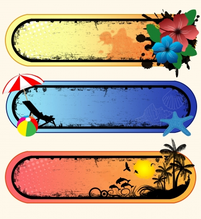 starfish on beach: Set of tropical grunge banners with space for your text, vector illustration