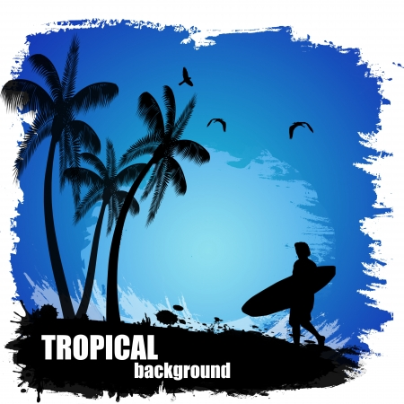 Beautiful tropical background on blue, vector illustration Vector