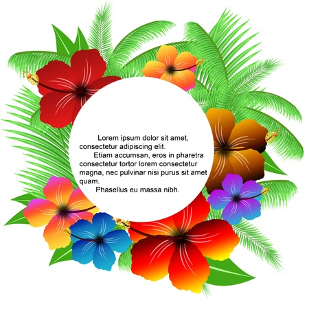 flower power: Palm leaves and hibiscuses frame on white, vector illustration