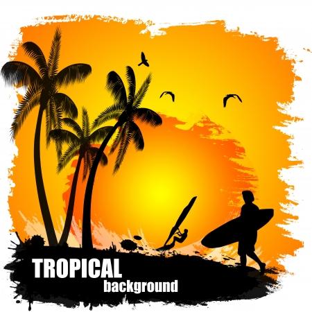polynesian: Beautiful tropical background on sunset, vector illustration