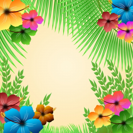 tropical border: Tropical frame with palms and hibiscus flowers, vector illustration