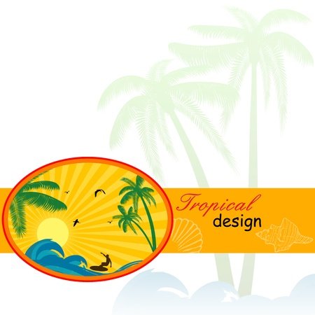 Surfing label with place for your text, on tropical background, vector illustration Stock Vector - 14350927