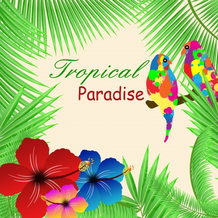 birds of paradise: Tropical paradisebackground with plants, hibiscus flowers and parrots, vector illustration