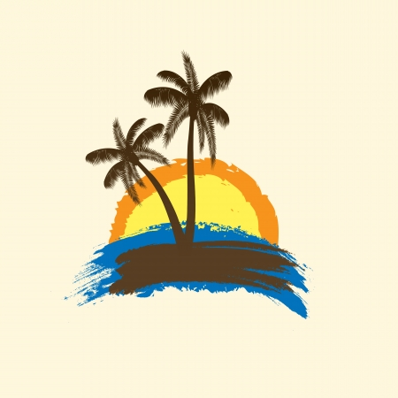 oasis: Grunge tropical background with palms and sun. vector illustration