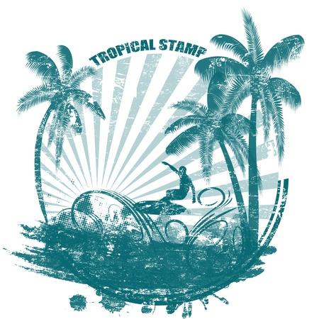 Grunge tropical sello de goma con las palmas y el surfista Ilustración de vector