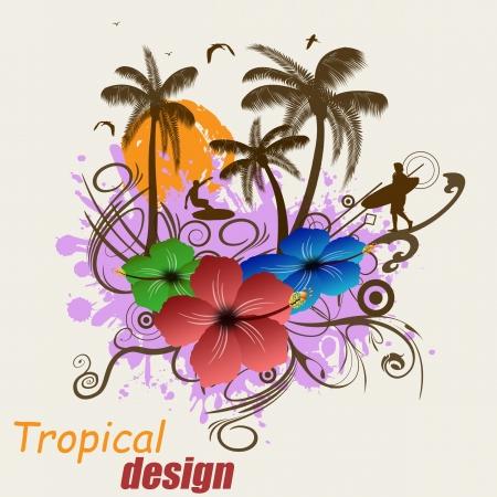 hawaiana: Dise�o del cartel tropical con los surfistas y las palmas