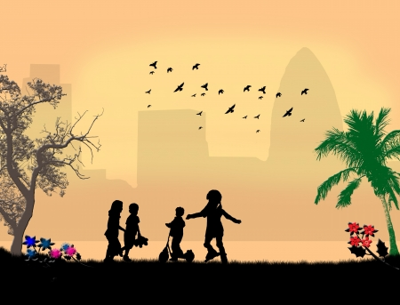 Children playing in a city park Stock Vector - 14413271