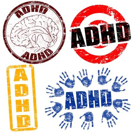 wanorde: Set van grunge stempels met de tekst ADHD in verband met het Attention Deficit Hyperactivity Disorder Stock Illustratie