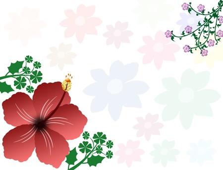 beautiful red hibiscus flower: Esquina de un marco de hibisco hermoso y hojas, ilustraci�n vectorial