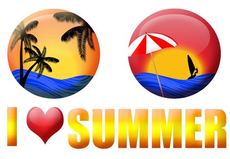 windsurf: Set of summer icons on white background