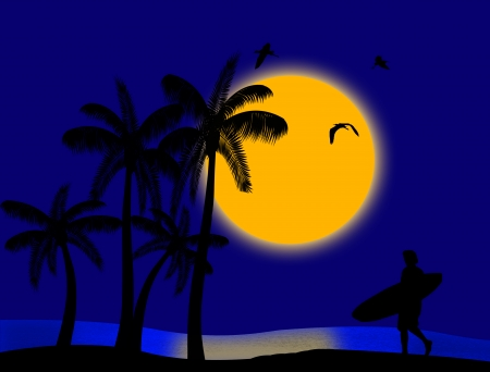 Sunset on blue tropical paradise with palms and surfer silhouette Vector