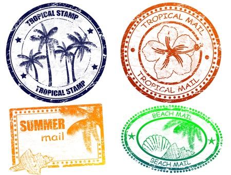 pasaporte: Conjunto de grunge sellos de verano tropicales y con lugar para el texto dentro de