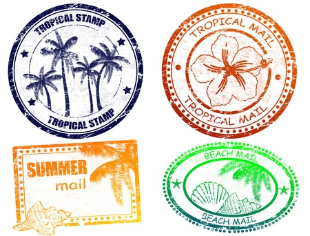 Set of grunge tropical summer stamps and with place for your text inside Stock Vector - 14576962