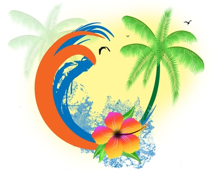 birds of paradise: Tropical paradise background with palms, hibiscus flower and water