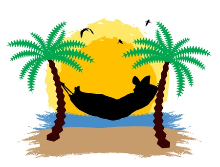 A men relaxing on a hammock in the sunset between two palm trees Vector
