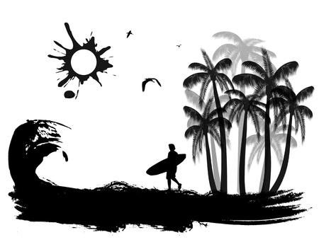 surf silhouettes: Scena tropicale su sfondo grunge costa, illustrazione vettoriale