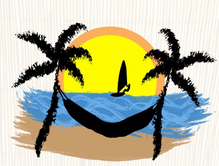 Palms, windsurfer and hammock on tropical place, vector illustration Vector