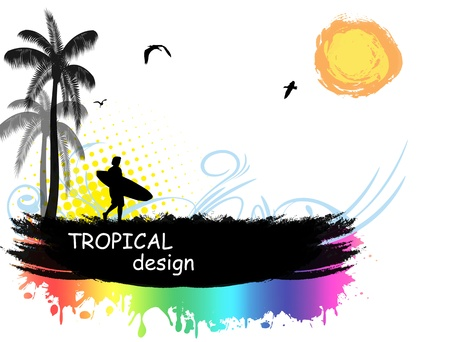 Grunge tropical design background with palm trees and surfer,vector illustration Stock Vector - 14620557
