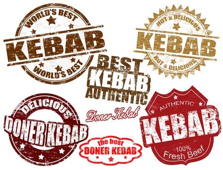 pinchos morunos: Conjunto de sellos de goma del grunge con la palabra escrita dentro de kebab, ilustración vectorial