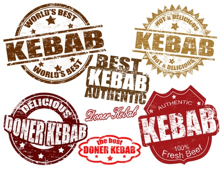 Set of grunge rubber stamps with the word kebab written inside, vector illustration