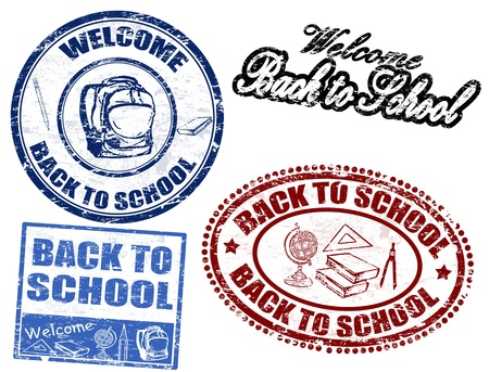 written text: Set of grunge rubber stamps with the text Back to School written inside the stamp, vector illustration Illustration