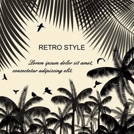 �rboles con pajaros: Las aves en las palmas de las manos y volar en el fondo estilo retro, ilustraci�n vectorial