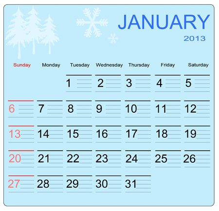 January 2013 calendar, vector illustration Vector