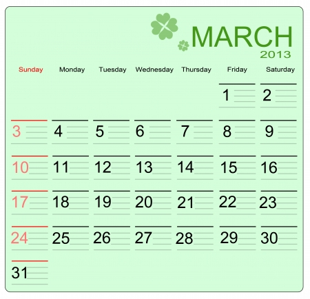 March 2013 calendar, vector illustration Vector