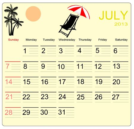 July 2013 calendar, vector illustration Vector