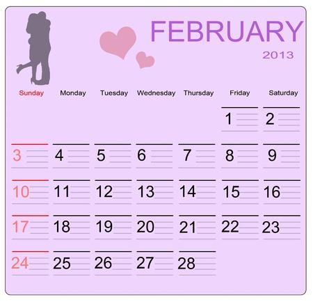 February 2013 calendar, vector illustration Vector